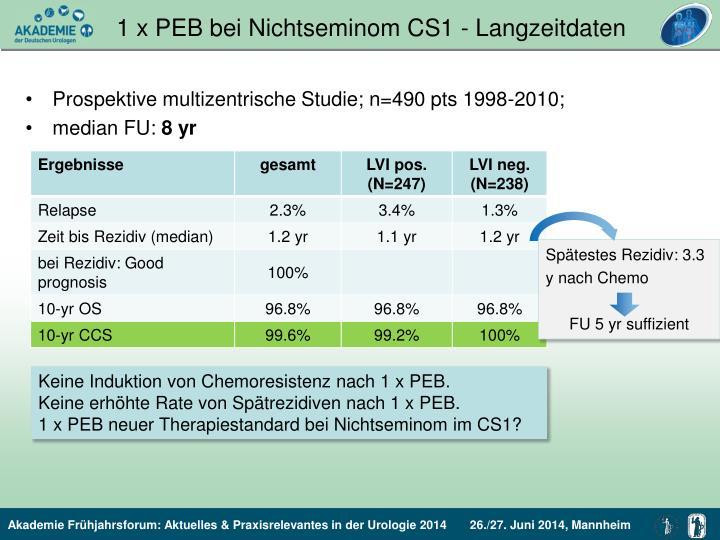 1 x PEB bei Nichtseminom CS1 - Langzeitdaten