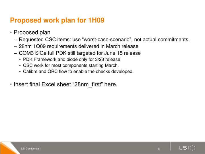 Proposed work plan for 1H09