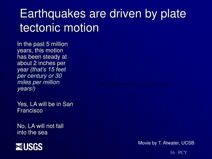 Earthquakes are driven by plate tectonic motion