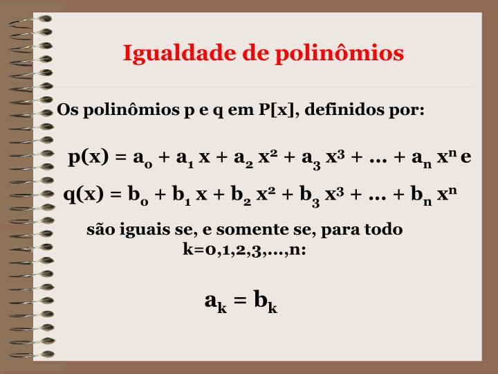 Igualdade de polinômios