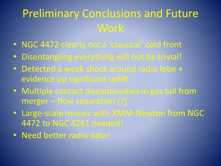 Preliminary Conclusions and Future Work
