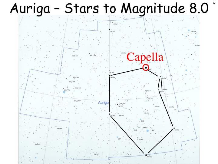 Auriga – Stars to Magnitude 8.0