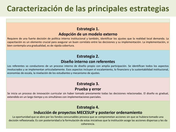 Caracterización de las principales