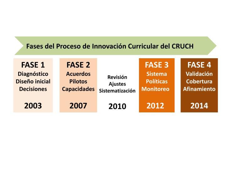 Fases del Proceso de Innovación Curricular del CRUCH
