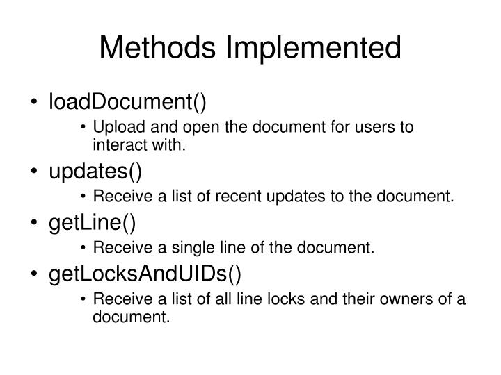 Methods Implemented