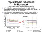 pages read in school and for homework