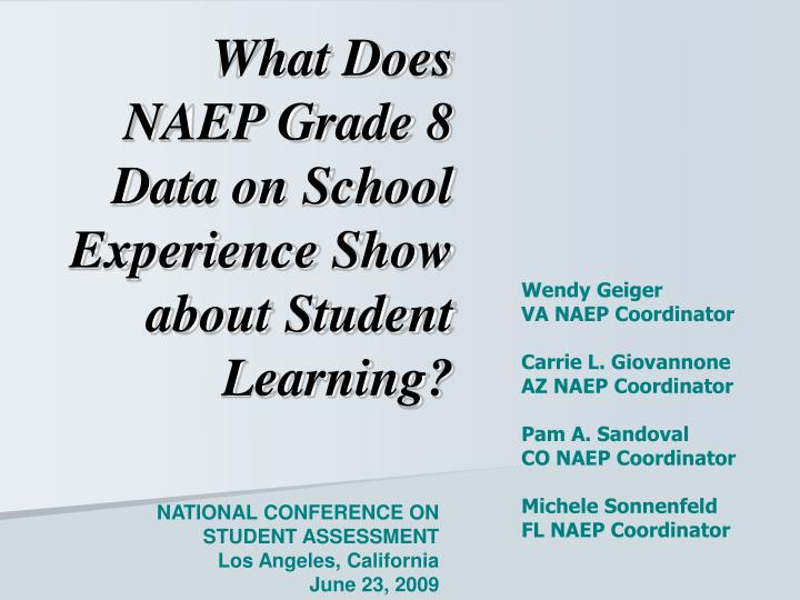 What Does NAEP Grade 8 Data on School Experience Show about Student Learning?
