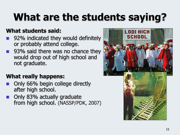 What are the students saying?