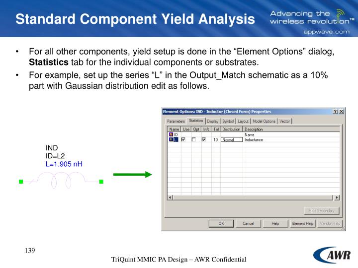 Standard Component Yield Analysis