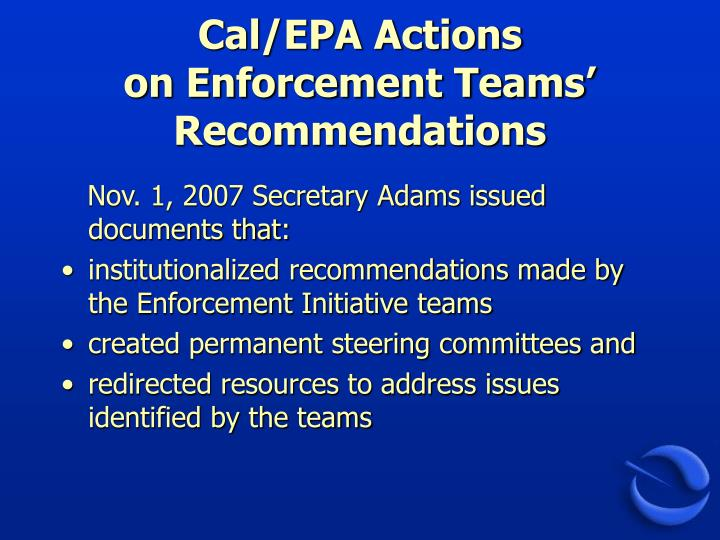 Cal/EPA Actions