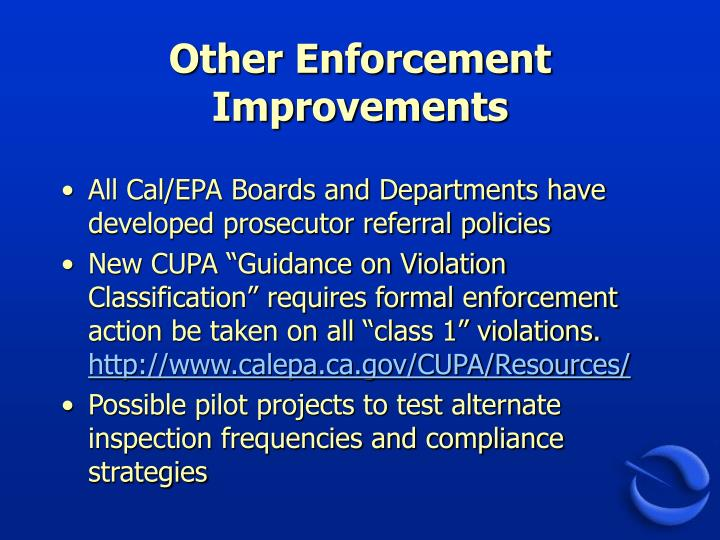 Other Enforcement Improvements