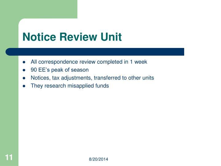 Notice Review Unit