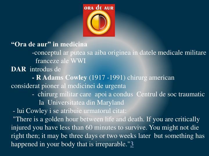 """""""Ora de aur"""" in medicina"""
