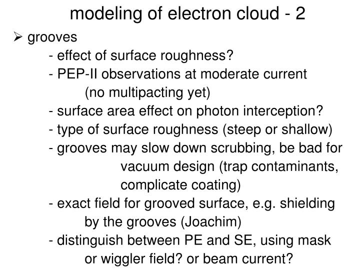 modeling of electron cloud - 2