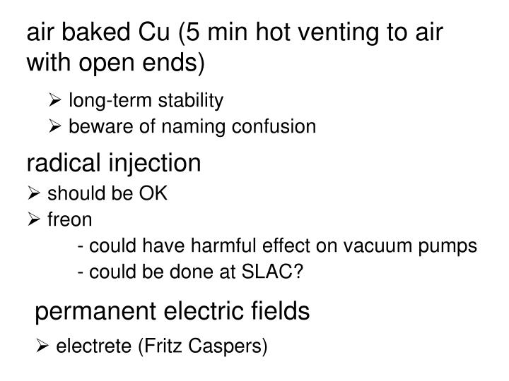 air baked Cu (5 min hot venting to air