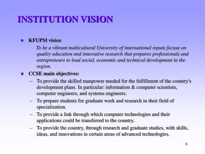INSTITUTION VISION