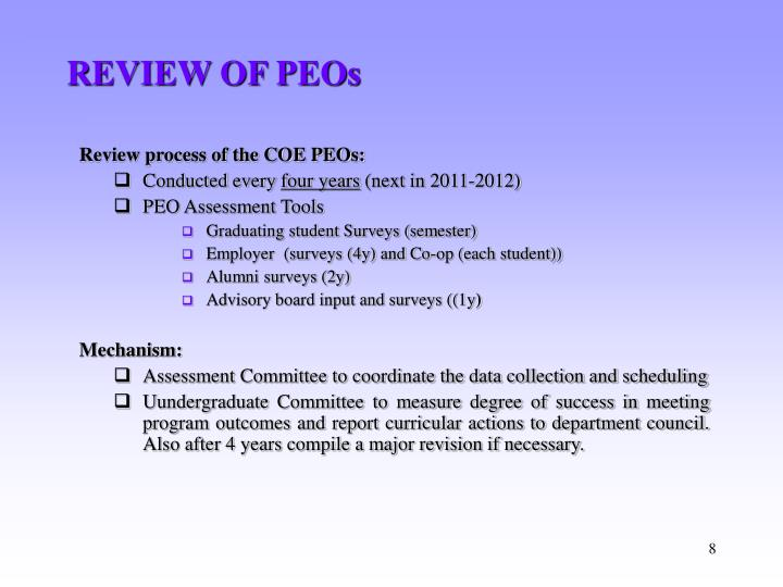 REVIEW OF PEOs