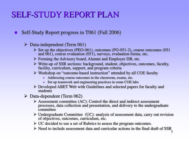 SELF-STUDY REPORT PLAN