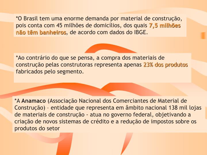 *O Brasil tem uma enorme demanda por material de construção,