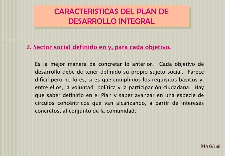 CARACTERISTICAS DEL PLAN DE