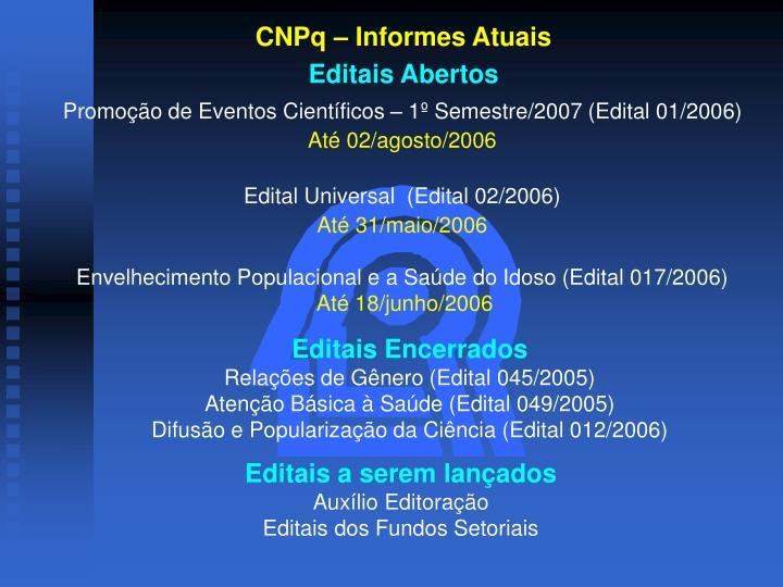 CNPq – Informes Atuais
