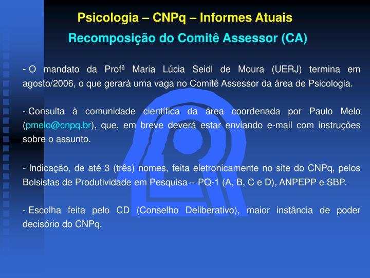Psicologia – CNPq – Informes Atuais