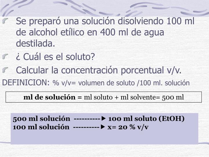 Se preparó una solución disolviendo 100 ml de alcohol etílico en 400 ml de agua destilada.