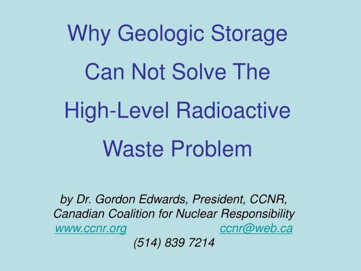 Why Geologic Storage