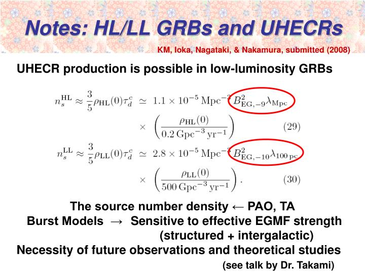 Notes: HL/LL GRBs and UHECRs
