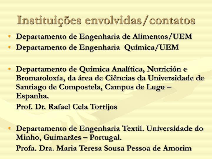 Instituições envolvidas/contatos