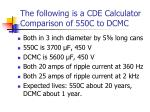 the following is a cde calculator comparison of 550c to dcmc
