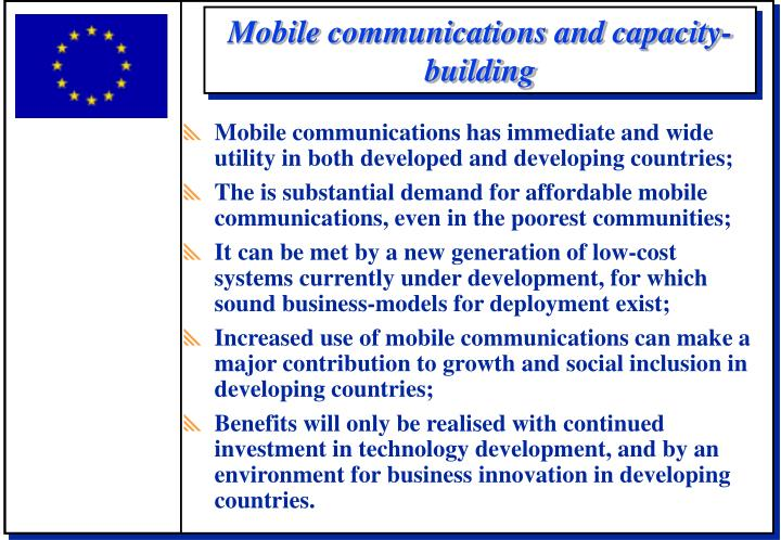 Mobile communications and capacity-building