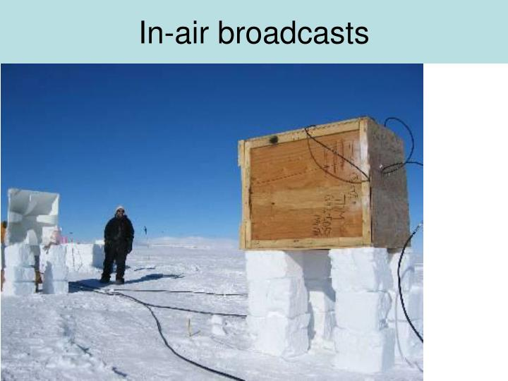 In-air broadcasts