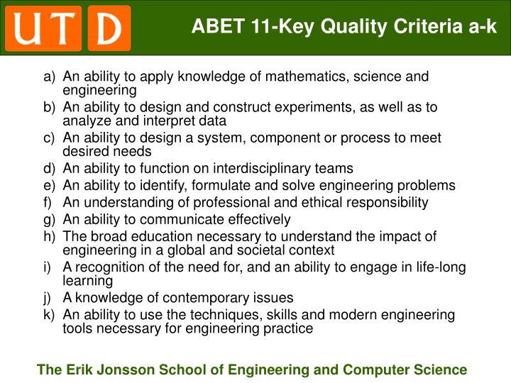 ABET 11-Key Quality Criteria a-k