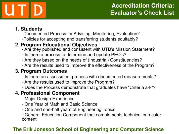Accreditation Criteria:
