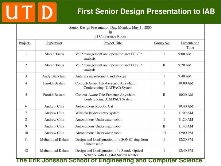 First Senior Design Presentation to IAB