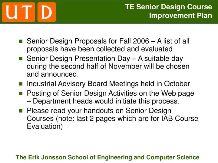 TE Senior Design Course