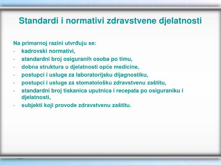 Standardi i normativi zdravstvene djelatnosti
