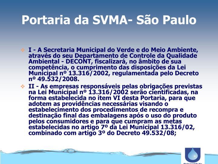 Portaria da SVMA- São Paulo