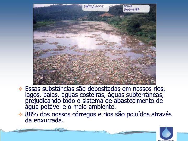 Essas substâncias são depositadas em nossos rios, lagos, baías, águas costeiras, águas subterrâneas, prejudicando todo o sistema de abastecimento de água potável e o meio ambiente.