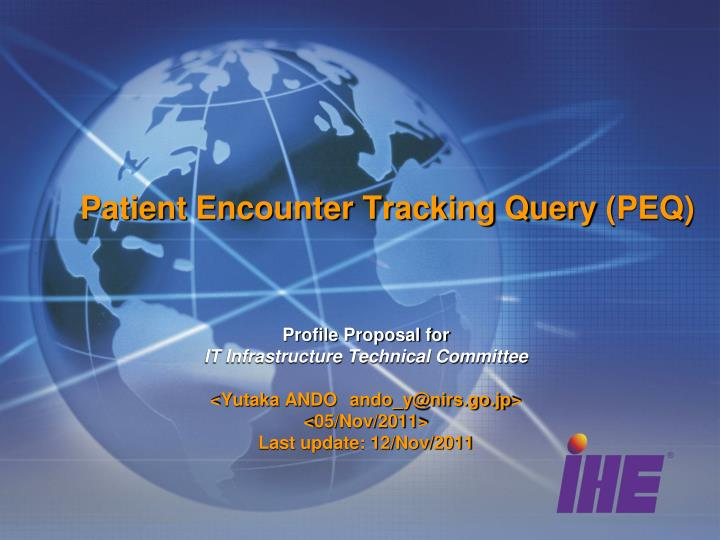 Patient encounter tracking query peq