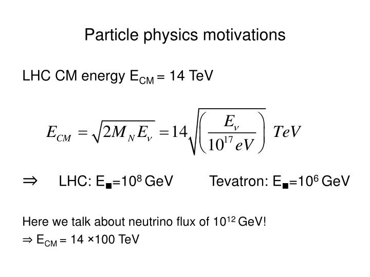 Particle physics motivations