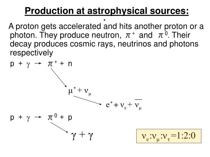 Production at astrophysical sources: