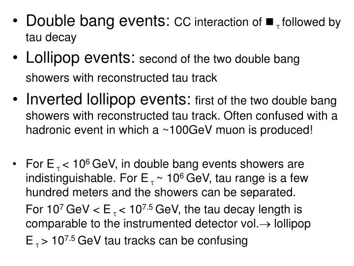 Double bang events: