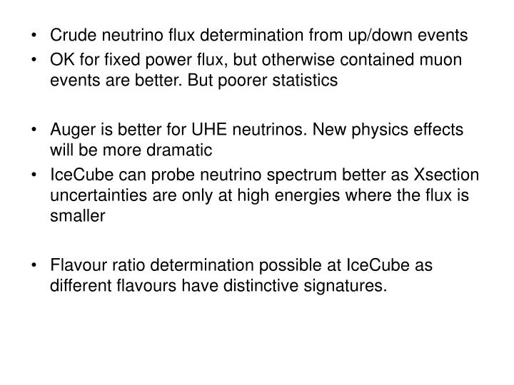Crude neutrino flux determination from up/down events