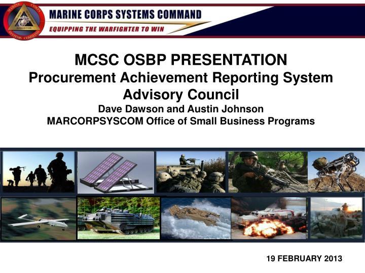 MCSC OSBP PRESENTATION