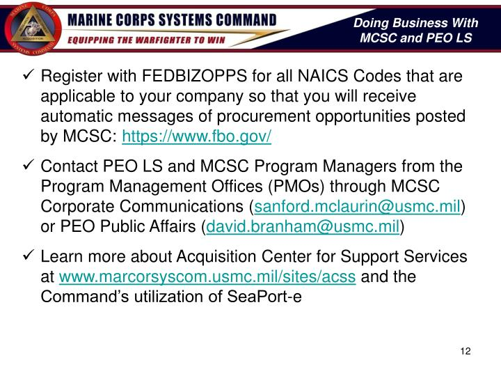 Doing Business With   MCSC and PEO LS
