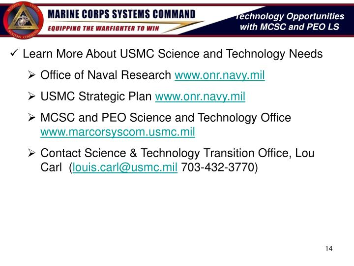 Technology Opportunities with MCSC and PEO LS