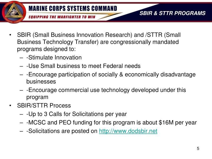 SBIR & STTR PROGRAMS