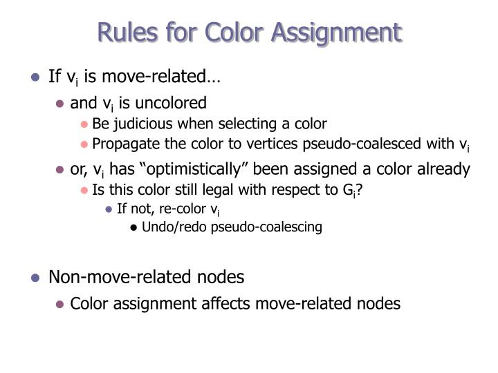 Rules for Color Assignment